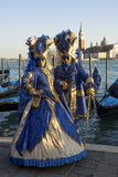 Two Ladies in Blue and Gold Masks, Venice Carnival, Venice, Veneto, Italy Photographic Print by James Emmerson