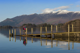 Ashness Boat Landing, Two Walkers Enjoy the Skiddaw Range, Derwentwater Photographic Print by James Emmerson