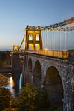 Menai Suspension Bridge at Night, Built in 1826 by Thomas Telford, Bangor, Gwynedd, Wales, UK Photographic Print by Stuart Black