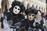 Couple in Black and White with Clown Puppet, Venice Carnival, Venice, Veneto, Italy, Europe Photographic Print by James Emmerson