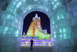 Illuminated Ice Sculpture at the Harbin Ice and Snow Festival in Harbin, Heilongjiang Province, Chi Photographic Print by Gavin Hellier