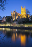 Worcester Cathedral on the River Severn Floodlit at Dusk, Worcester, Worcestershire, England, UK Photographic Print by Stuart Black