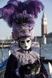 Lady in Black and Purple Mask and Feathered Hat, Venice Carnival, Venice, Veneto, Italy Photographic Print by James Emmerson