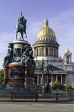 Golden Dome of St. Isaac's Cathedral Built in 1818 and the Equestrian Statue of Tsar Nicholas Photographic Print by Gavin Hellier