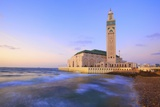 Exterior of Hassan Ll Mosque and Coastline at Dusk, Casablanca, Morocco, North Africa, Africa Photographic Print by Neil Farrin