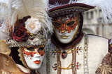 Lady and Gentleman in Red and White Masks, Venice Carnival, Venice, Veneto, Italy, Europe Photographic Print by James Emmerson