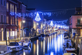 Christmas Decoration on a Canal at Night, Murano, Venice, UNESCO World Heritage Site, Veneto, Italy Photographic Print by Christian Kober