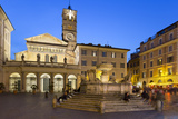 Baroque Fountain and Santa Maria in Trastevere at Night Photographic Print by Stuart Black