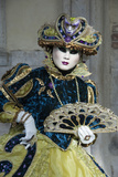Lady in Blue and Gold, with Fan, Venice Carnival, Venice, Veneto, Italy, Europe Photographic Print by James Emmerson