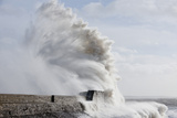 Waves Crash Against the Harbour Wall at Porthcawl, Bridgend, Wales, United Kingdom Photographic Print by Graham Lawrence