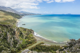 View over Preveli Beach, Crete, Greek Islands, Greece, Europe Fotografisk tryk af Michael Runkel