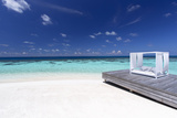 Sofa at the Beach in the Maldives, Indian Ocean Photographic Print by Sakis Papadopoulos