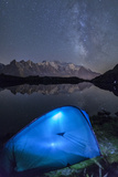 Camping with a Tent under the Milky Way at Lac Des Cheserys Photographic Print by Roberto Moiola