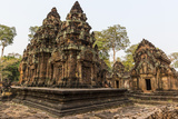 Ornate Carvings in Red Sandstone at Banteay Srei Temple in Angkor, Siem Reap, Cambodia Photographic Print by Michael Nolan