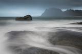 Water Breaks over Rocks at Uttakleiv, Lofoten Islands, Arctic, Norway, Scandinavia, Europe Photographic Print by David Clapp