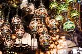 Mosaic Glass Turkish Lights on Display, Grand Bazaar (Kapali Carsi), Istanbul, Turkey Fotografisk tryk af Ben Pipe