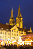 Christmas Market in Neupfarrplatz with the Cathedral of Saint Peter in the Background Photographic Print by Miles Ertman