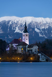 The Assumption of Mary Pilgrimage Church on Lake Bled at Dusk, Bled, Slovenia, Europe Photographic Print by Miles Ertman