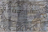 Bas-Relief Carvings in Prasat Bayon, Angkor Thom, Angkor, Siem Reap, Cambodia Photographic Print by Michael Nolan