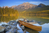 Canoe at Pyramid Lake with Pyramid Mountain in the Background Photographic Print by Miles Ertman