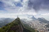 Rio De Janeiro Landscape Showing Corcovado, the Christ and the Sugar Loaf, Rio De Janeiro, Brazil Papier Photo par Alex Robinson
