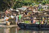 Families at Floating Market Selling Produce and Wares in Chau Doc, Mekong River Delta, Vietnam Photographic Print by Michael Nolan