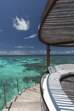 Stairs to the Beach and Sofa Overlooking the Ocean, Maldives, Indian Ocean Photographic Print by Sakis Papadopoulos
