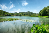 West Lake Landscape with Green Hills, Lake and Blue Sky, Hangzhou, Zhejiang, China Photographic Print by Andreas Brandl