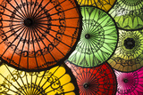 Colourful Painted Umbrellas, Parasols Made from Paper and Bamboo, Nyaung-U Fotografisk trykk av Stephen Studd