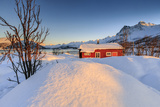 The Winter Sun Illuminates a Typical Norwegian Red House Surrounded by Fresh Snow Photographic Print by Roberto Moiola