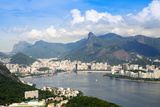 Aerial View of the City and Serra Da Carioca Mountains with Botafogo Bay Photographic Print by Alex Robinson