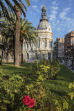 Town Hall under a Cloud Dappled Blue Sky with Palm Trees and Roses, Cartagena, Murcia Region, Spain Photographic Print by Eleanor Scriven
