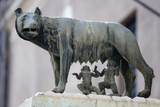 Bronze Sculpture of the She-Wolf with Romulus and Remus, Rome, Lazio, Italy Photographic Print by Stuart Black
