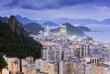 Twilight, Illuminated View of Copacabana, the Morro De Sao Joao and the Atlantic Coast of Rio Photographic Print by Alex Robinson