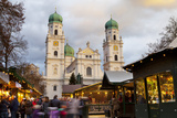 Christmas Market in Front of the Cathedral of Saint Stephan, Passau, Bavaria, Germany, Europe Photographic Print by Miles Ertman