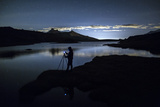 Photographer Admires Reflection on Rossett Lake at Night Photographic Print by Roberto Moiola