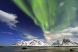 Northern Lights (Aurora Borealis) on Skagsanden Sky, Lofoten Islands, Arctic, Norway, Scandinavia Photographic Print by Roberto Moiola