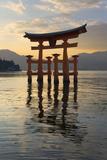 The Floating Miyajima Torii Gate of Itsukushima Shrine at Sunset Stampa fotografica di Stuart Black