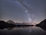 Starry Sky over Mont Blanc Range Seen from Lac Des Cheserys, Haute Savoie. French Alps, France Photographic Print by Roberto Moiola