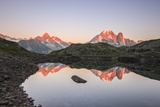 Reflections of Mont Blanc at Sunset on Lac Des Cheserys, Haute Savoie, French Alps, France Photographic Print by Roberto Moiola