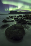 Aurora Borealis (Northern Lights) over a Mountain at Uttakleiv, Lofoten Islands, Arctic, Norway Photographic Print by David Clapp