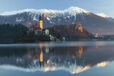 The Assumption of Mary Pilgrimage Church on Lake Bled and Bled Castle, Bled, Slovenia, Europe Photographic Print by Miles Ertman