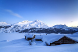 The Blue Hour Leaving its Place to the Night over Some Scattered Huts in Spluga by the Maloja Pass Photographic Print by Roberto Moiola