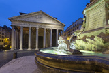 The Pantheon and Fountain at Night, Piazza Della Rotonda, Rome, Lazio, Italy Photographic Print by Stuart Black