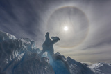 Complete Sun Halo and Glacial Iceberg Detail at Cuverville Island, Antarctica, Polar Regions Photographic Print by Michael Nolan