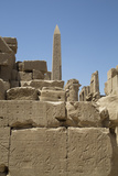 Hierogyliphics in Foreground, Obelisk of Tuthmosis in the Background, Karnak Temple Photographic Print by Richard Maschmeyer