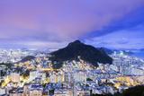 Twilight, Illuminated View of Copacabana, the Morro De Sao Joao Photographic Print by Alex Robinson