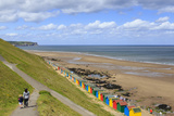 Elevated View of Colourful Beach Huts on West Cliff Beach Photographic Print by Eleanor Scriven