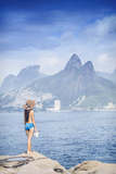 A 20-25 Year Old Young Brazilian Woman Standing on the Arpoador Rocks Photographic Print by Alex Robinson