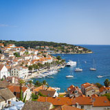 Elevated View over Hvar's Picturesque Harbour, Stari Grad (Old Town), Hvar, Dalmatia, Croatia Photographic Print by Doug Pearson